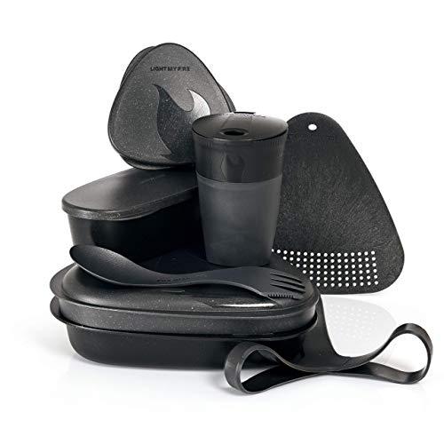 Light My Fire Camping Geschirr Set - 8 Teilig Salat to Go Box - Brotdose Erwachsene mit Camping Besteck - 100% BPA Frei Plastikgeschirr Wiederverwendbar - Lunch Box mit Fächern fürs Büro & Schule