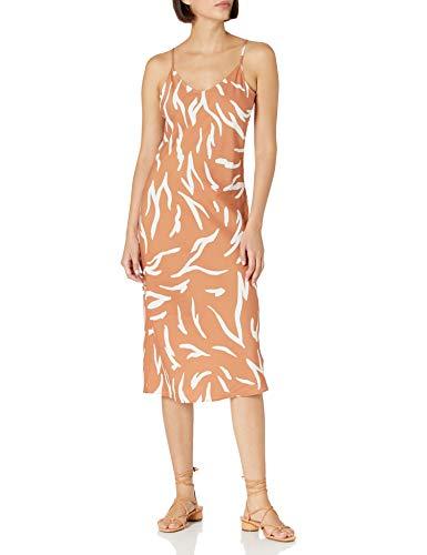 Daily Ritual Georgette Fluid Drape-Vestido de Ajuste estándar Dresses, Arcilla/Impresión Abstracta de Cebra Blanca, US M (EU M - L)