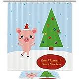 Bennigiry Merry Christmas Tree süßes Schwein Duschvorhang-Set, Badezimmer-Zubehör, 182,9 x 182,9 cm, Polyester-Duschvorhänge & Badematte mit 12 Haken