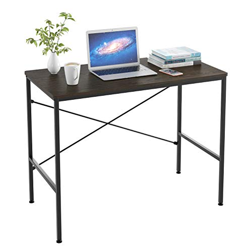 Homfa Schreibtisch Computertisch Arbeitstisch Bürotisch Holz Metall stabil für Wohnzimmer, Büro, Office, Arbeitszimmer, Gaming im Industrie-Design Schwarz Groß 100 x 52 x 76cm