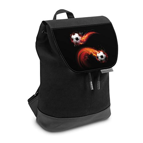 Rucksack mit Lasche 30 cm x 20 cm Daypack für Damen & Herren Tasche mit Design Fußball Feuer Sport