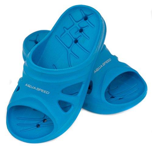 Aqua Speed® Florida Kids Badelatschen Größe 28-35, Farbe:Blue;Größe:35