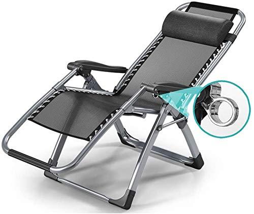 GYLEJWH Sun Lounger Garden Recliner, Heavy-Duty Folding Zero-Gravity Chair, Reclining Chair, Beach Recliner, Beach Terrace Garden Camping, Extra Wide 65
