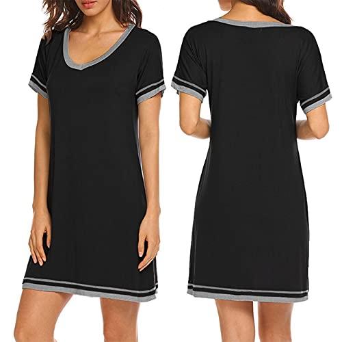 EEOO Camisón de manga corta suelta elegante ocio suave y cómodo tela damas pijama