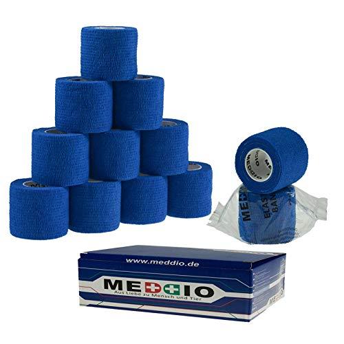 12 Haftbandagen Größe+Farbe wählbar - selbsthaftende Bandage Fixierverband selbstklebend, Farbe:blue, Größe:5cm