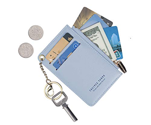Small Wallets for Women Slim Leather Card Case Holder Wallet Coin Change Purse with Keychain (Blue)