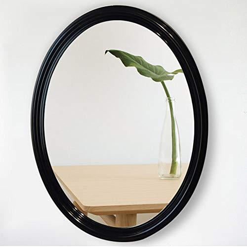 Espejo de baño Espejo de Pared con Marco de Resina ABS Ovalada / 62 × 77 cm, Espejo de Maquillaje Negro/Sala de Estar - Dormitorio Espejo Decorativo