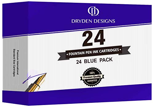 Dryden Designs Fountain Pen Ink Cartridges - SET OF 24 BLUE INK CARTRIDGES - Short International Standard Size - Disposable and Generic Ink Refill Cartridges - Perfect for Calligraphy