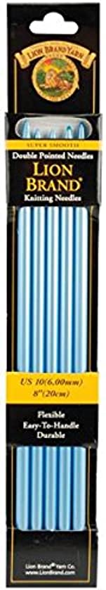 Lion Brand Yarn 400-5-1008 Double Point Knitting Needles, 8-Inch, Size 10, 6mm, Blue, 5-Pack