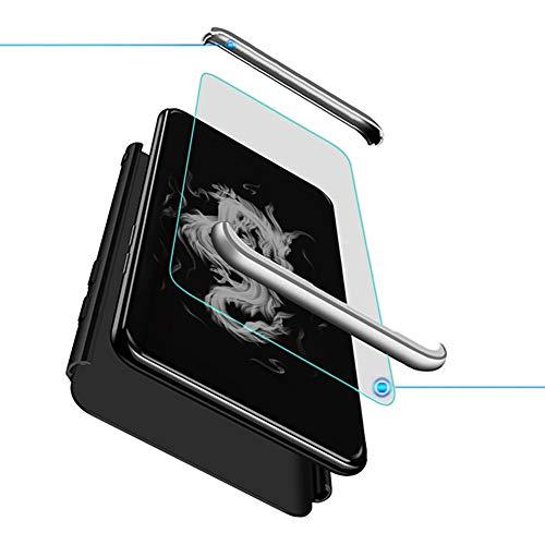 Kompatibel mit Oppo Find X2 Neo Smartphone Hülle(2020)+3D Panzerglas/Hülle Ultra Dünn 3 in 1 Schutzhülle 360 Grad Stoßfest Hülle Cover Handyhülle für Oppo Find X2 Neo-Schwarz+Silber