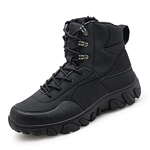 PJTL Men's Waterproof Hiking Boots Outdoor Trekking Backpacking Mountaineering Shoes Insulated Non-slip2 (Color : Black, Shoe Size : 12)