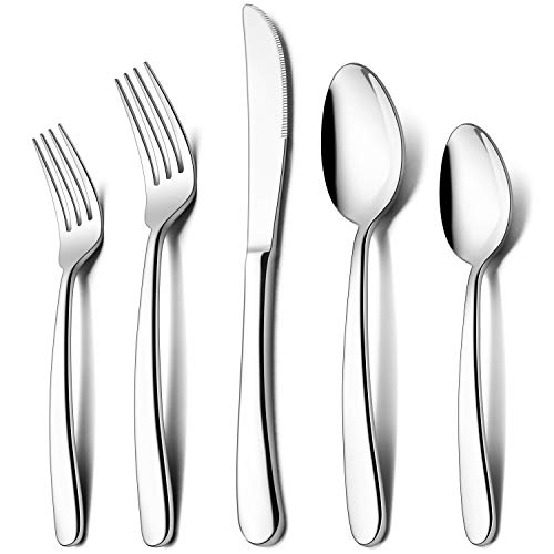 LIANYU 60-Piece Heavy Duty Silverware Set, Stainless Steel Flatware Cutlery Set for 12, Heavy Weight Eating Utensils Set for Home Restaurant Wedding, Dishwasher Safe, Mirror Polished