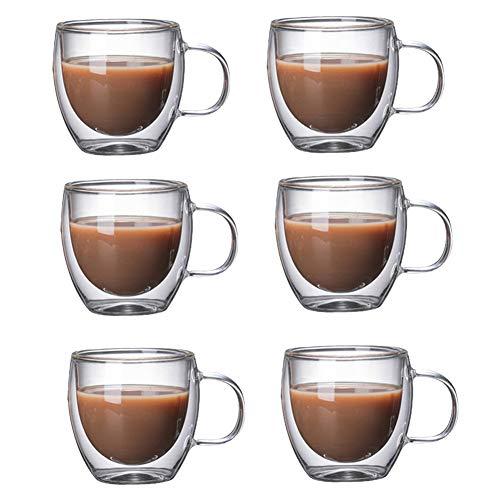 KunLS Tazzina Termica Caffe Bicchieri Caffè Tazas De Café De Vidrio Transparente Helado Taza De Café 6CUPS,150ML
