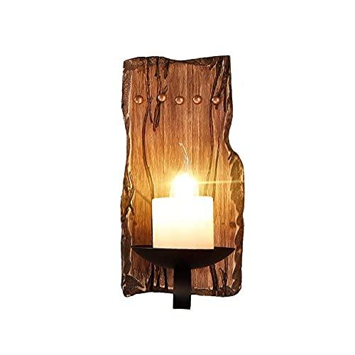 LHTCZZB Industria de decoración de Madera Maciza E14 Edison Aplique Aplique Linterna Focos Creativo Retro Bar Difuso Cafe Pasillo Dormitorio Lámpara de Pared de cabecera
