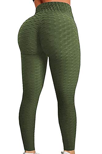 C/N Leggings Donna Fitness, Pantaloni Sportivi Yoga Vita Alta Leggins Palestra Allenamento Push Up RC-01(ArmyGreen,S)