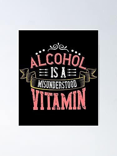 Situen A.l.c.o.h.o.l is een verkeerd begrepen Vitamine-01 poster - voor speelkamerdecoratie, kinderen afdrukken, kinderdagverblijf, afdrukbare kamer Aldult Decor.