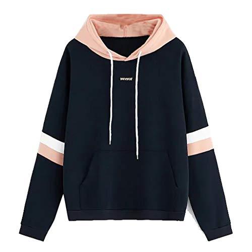 TANGTANGYI Damen Kapuzenpullover Mode Kontrastfarbe Lockeres Freizeit Schöne Frauen Pullover mit Kapuze Drawstring Sweatshirt Hoodie Oberteile (Rosa L)