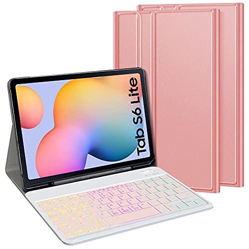 TASTATUR Funda con teclado compatible con Samsung Galaxy Tab S6 Lite (SM-P610 / P615) 10,4 pulgadas,[Español Ñ Diseño]Teclado inalámbrico 7 colores y tres funda de teclado de partición retroiluminada