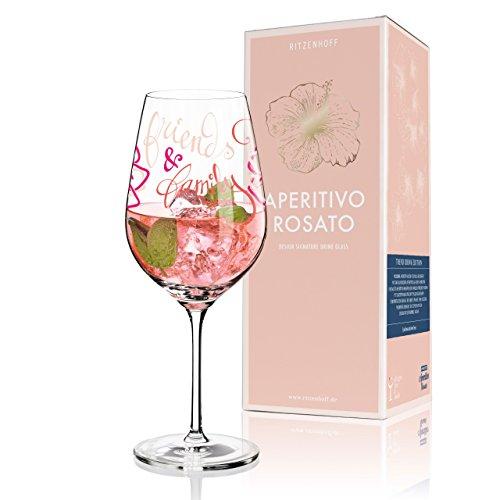 RITZENHOFF Aperitivo Rosato Aperitifglas von Virginia Romo, aus Kristallglas, 600 ml, mit trendigen Dekoren