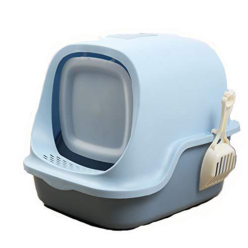 Caja De Arena para Gatos Baño para Gatos Recogedor De Arena para Gatos con Cúpula De Fácil De Limpiar Encapuchado Bote De Basura Baño De Gatito Filtrar con Mango A Prueba,Azul