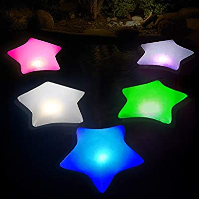 Cootway Solar Powered Pool Lights 4PCS, 17'' Inflatable Waterproof Star Night Lights, Auto Color Changing Floating Lights for Pond, Garden, Backyard and Party