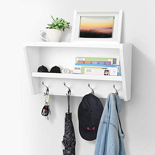 hanging shelf with hooks AHDECOR White Wall Mounted Entryway Floating Shelf with Coat Hooks, Wooden Wall Organizer Coat Rack, Storage Hanging Shelf for Home Decor
