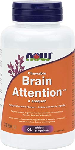 NOW Brain Attention w/Silk Protein 60 Tablets, 50 g