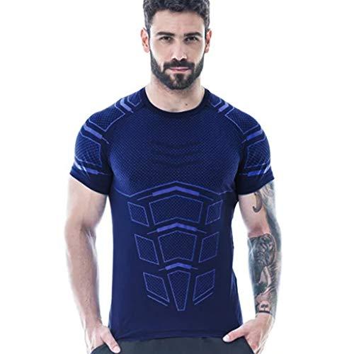 DNOQN Herren Sommer Beiläufig Einfach Gedruckt Rundhals Kurzarm Oben Bluse T-Shirt