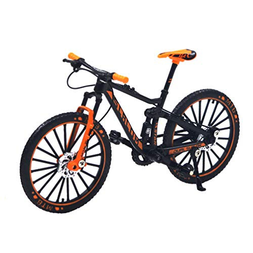 Ailejia Alloy Bicycles Model Racing Bike Mountain Finger Bicycle Toy Mini Bicycle Vehicles Model Decoration Crafts for Home (Black Orange)