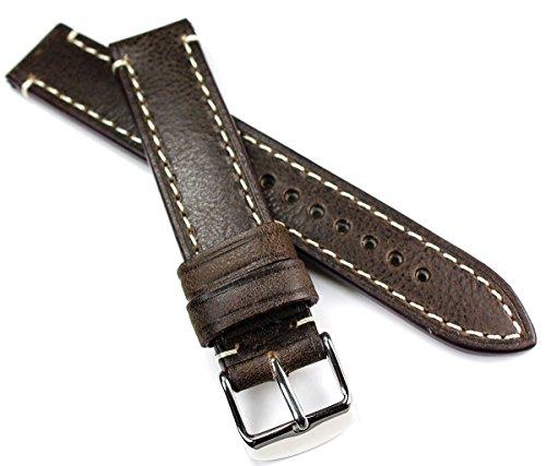 RIOS1931 Cinturino per orologio CT, XL, 18mm, in pelle bovina resistente, stile militare, stile retrò, marina militare, aviatore, ottima qualità, marrone scuro