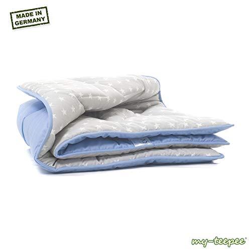 my-teepee dicke Spieldecke, blau/grau mit weißen Sternen, Bezug 100% Baumwolle, Größe ca. 100 x 100 cm, made in Germany, passend zu my-teepee Kinder Spielzelt grau