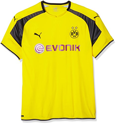 Puma Herren Trikot BVB international Replica Shirt with Sponsor Logo, Cyber Yellow-Black, S, 749825 11