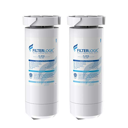 FilterLogic XWF NSF Certified Refrigerator Water Filter, Replacement for GE XWF, WR17X30702, Models Starting with GBE21, GDE21, GDE25, GFE24, GFE26, GNE21, GNE25, GNE27, Pack of 2 (Packaging may vary)