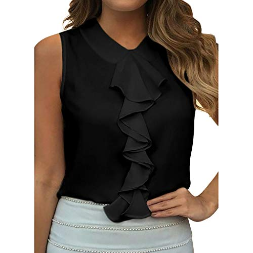 Janly - Camiseta sin mangas para mujer, color negro (talla XL)