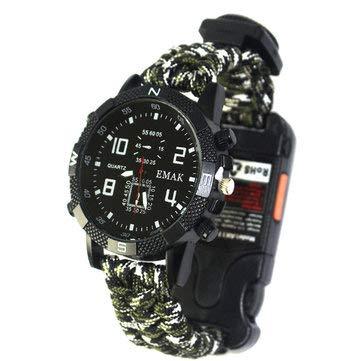 Outil de camping et de randonnée EDC et kit d'urgence – Montre bracelet paracorde de survie en plein air, bracelet d'urgence de voyage, kit de lampe de poche multifonction – Vert militaire – 1 x Paracord Watchspa