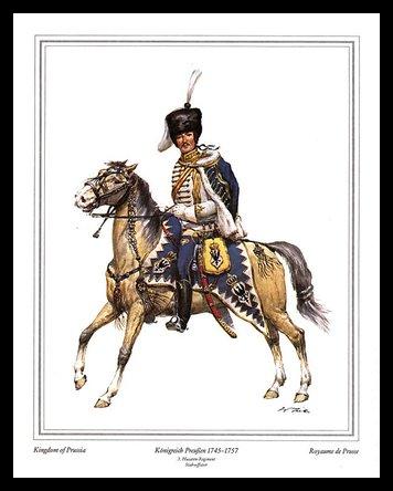 Germanposters Militär Königreich Preussen 1745-1757 Poster Bild Kunstdruck im Alu Rahmen in schwarz 30x24cm