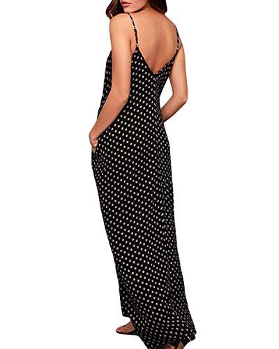 ZANZEA Mujeres Elegante Bohemio Algodón Casual Vestido Suelto Largo Playa Lunares Cuello V sin Mangas Negro EU 46