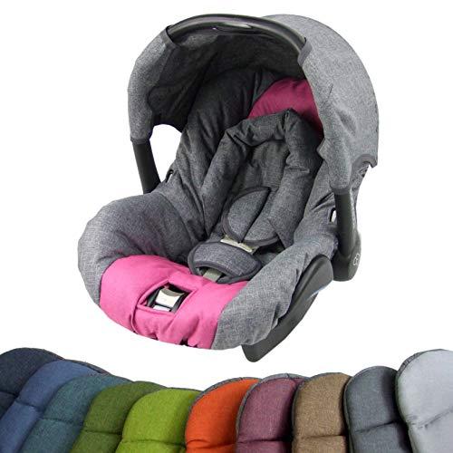BAMBINIWELT Ersatzbezug für Maxi-Cosi CITI SPS 6-tlg, Bezug für Babyschale, Komplett-Set (grau-pink) XX