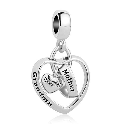 CharmSStory Mom Mother Daughter Heart Love Dangle Charm Beads for Snake Chain Bracelet (Grandma Mother Daughter)