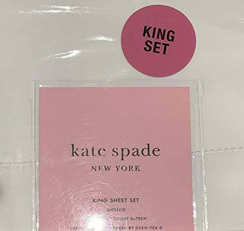 Kate Spade Weston Hemstitch Cotton Sateen Set - White - King