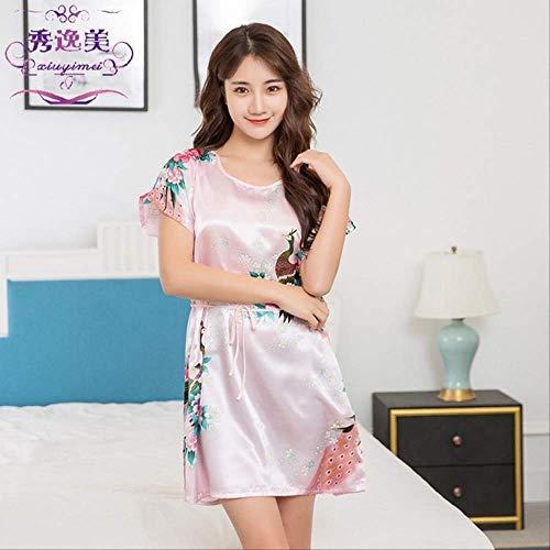 XFLOWR Vrouwen Satijn Korte Nachtjapon Sakura Bloemen Kimono Jurk Badjas Bloemen Pyjama Bruiloft Bruid Bruidsmeisje Jurk Jurk One Size roze