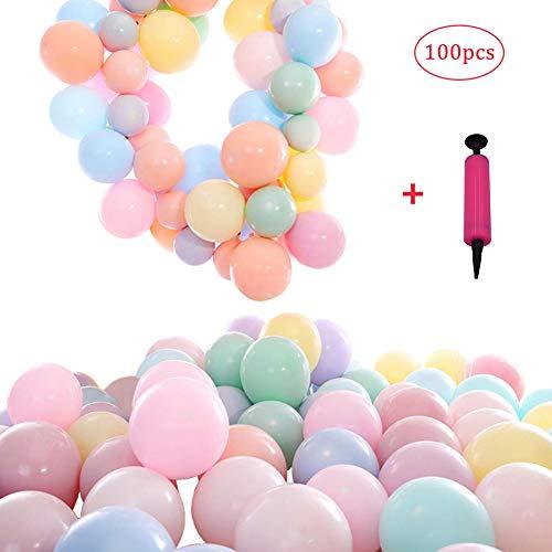 REYOK Luftballons Pastell,Macaron Farbe Latex Ballons Kit,100pcs Candy Pastel Luftballons Bunt Colored Blush Balloons Party Balloons mit Ballonpump für Feiern Geburtstage Veranstaltungen Dekoration