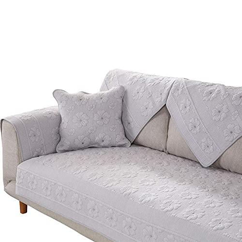 XHNXHN Fundas acolchadas para sofá de lujo, funda para sofá de perro, protector universal para muebles de sofá de cuatro estaciones suave, reversible, para sofás de piel, color gris