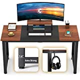 CubiCubi Computer Office Desk 55', Study Writing Table, Modern Simple Style PC Desk with Splice Board, Black and Espresso