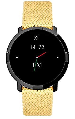 FLORENCE MARLEN FM1R Siena | Disegnato In Italia | 2 CINTURINI | Smartwatch Uomo-Donna Cinturino Tessuto Crema |Orologio,Water-Resistant|Cardiofrequenzimetro,Contapassi,Notifiche|IOS&Android