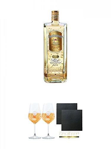 Danziger Goldwasser Likör 0,7 Liter + Miamee Goldwasser Cocktail Gläser mit 5cl Eichstrich 2 Stück + Schiefer Glasuntersetzer eckig ca. 9,5 cm Ø 2 Stück