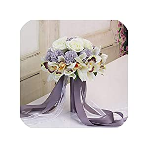 Silk Flower Arrangements Joyfeel-light 3Pc Set Silk Wedding Bouquet Photograph Bridal Bouquet Artificial Hydrangea Iris Rose Wedding Flowers with Berries,Style 5 Syringa
