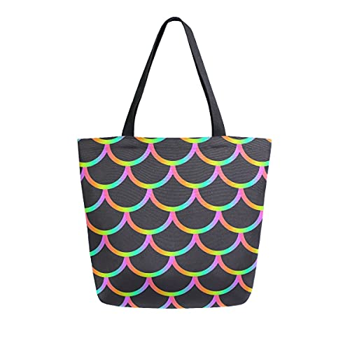 XXNO - Bolsa de lona con diseño de sirena, diseño de sirena, gran capacidad, para el trabajo, playa, viajes, comestibles