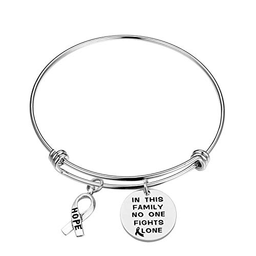 in This Family No One Fights Alone Bracelet Keychain Necklace Cancer Awareness Bracelet Keychain Necklace Jewelry Cancer Survivor Gift