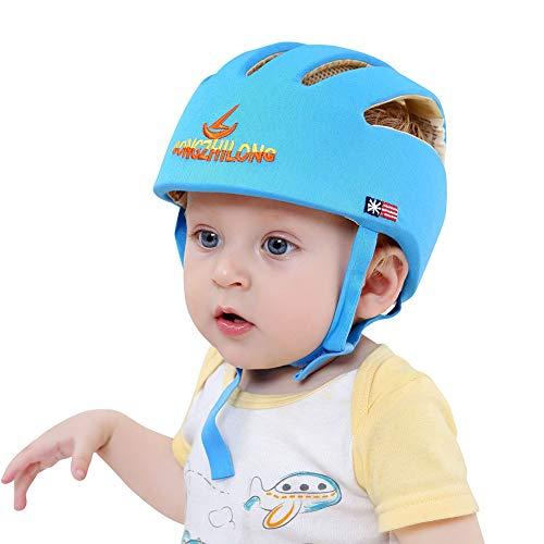 Bebé Casco de seguridad ajustable Protectores de cabeza Arnés de protección Sombrero Proporciona un entorno más seguro cuando aprende a gatear Jugar a pie (Azul)